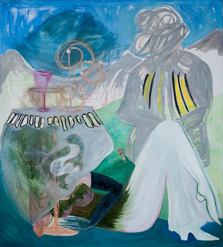 Den Untertan im Nacken, 2015, Öl auf Leinwand, 200 x 180 cm
